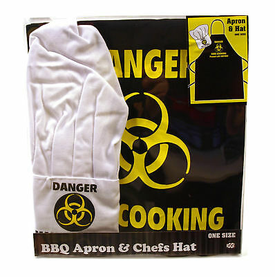 Biohazard! Danger! Man Cooking Apron & Chef Hat Set