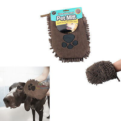 Pet Mitt Quick Drying Super Absorbent Microfibre Dog Puppy Cat Cleaning Wash