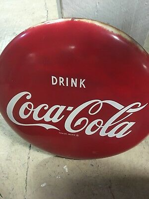 "Vintage Original 16""  Drink Coca Cola Tin Soda Button Sign"