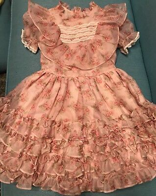 Martha's Miniatures Ruffled Floral Lace Dress We're Fussy Size 6X VINTAGE Rare