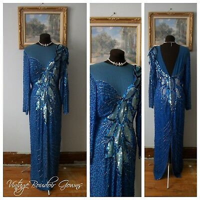 Vintage Glass Bead Sequin Silk Gown Dress Formal Sexy Art Deco Gatsby 70's 80's