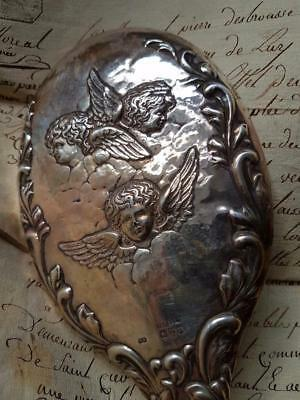 Antique French-found Bevelled Glass Oval Silver Boudoir Hand Mirror with Cherubs