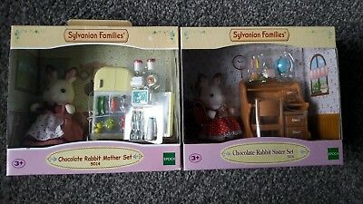 Sylvanian Families CHOCOLATE RABBIT MOTHER SISTER SET NEW BOXED X2