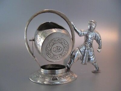 1920/30s: a great solid Asian 800 silver tea strainer set with figure