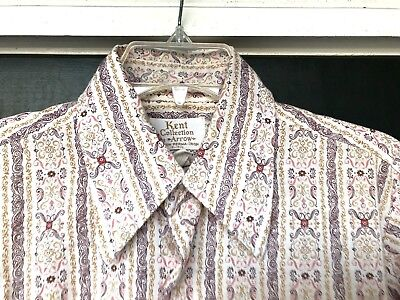 "Vintage KENT COLLECTION by ARROW Men's Sz 15-15 1/2 Print Shirt LS ""Sanforized"""