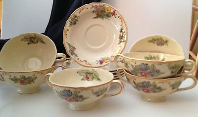 Royal Doulton 'Floretta' Double-Handled Soup/Broth Bowls & Saucers - Set of Six