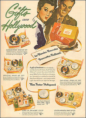 1940's Vintage ad for Max Factor Hollywood`Art Gift set WWII era (030117)