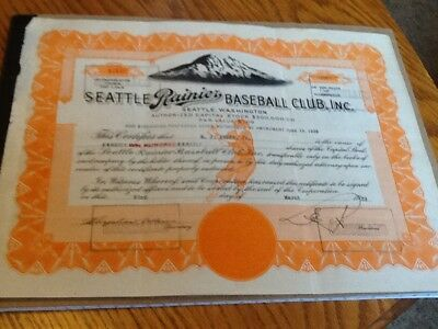 Seattle Rainier Baseball Club Stock Certificate Pcl Signed By Emil Sick 1939