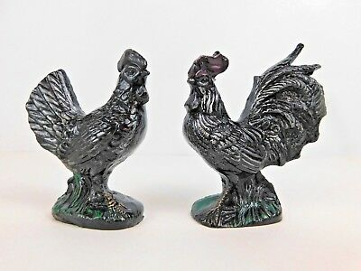 Rooster & Hen Figures Made of Coal Hand Crafted
