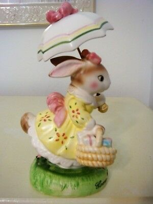 "Avon Cherished Moments ""come Rain Or Shine"" Porcelain Lady Rabbit With Umbrella"