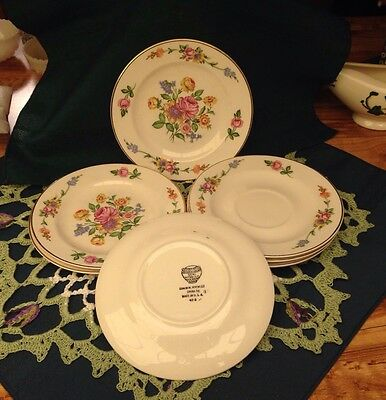 Four Knowles Pattern Serenade Bread & Butter Plates & Three Saucers