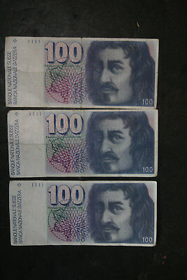 Lot of 3 6th Series Swiss Franc 100 Notes Switzerland SNB Suisse 1975 1977