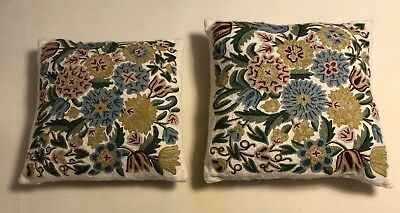 Vintage Hand Embroidered Pair Of Two Square Throw Pillows Cream Floral
