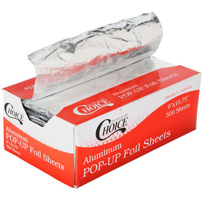 """Choice 9"""" x 10 3/4"""" Food Service Interfolded Pop-Up Foil Sheets - 500 Sheets/Box"""