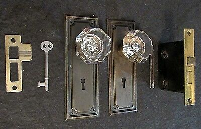CUSTOMIZABLE! Antique Glass Door Knob Lockset Skeleton Key Mortise Backplate