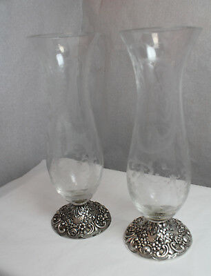 Pair Continental European Silver And Glass Vases Christoph Widmann