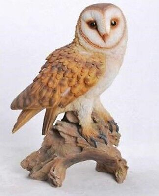 BARN OWL ON BRANCH LARGE Realistic Life Like - Figurine Statue Home / Garden new