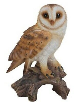 BARN OWL ON STUMP - Realistic Life Like - Figurine Statue Home / Garden new