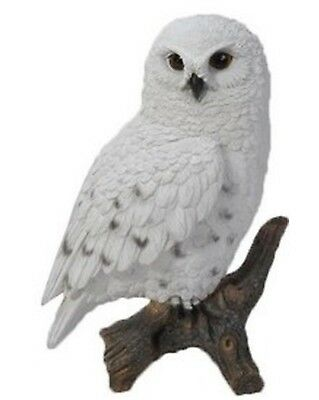 SNOWY OWL ON STUMP SMALL - Realistic Life Like Figurine Statue Home / Garden new