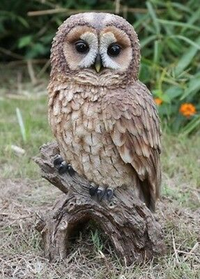 BROWN OWL ON STUMP LARGE - Realistic Life Like Figurine Statue Home / Garden new