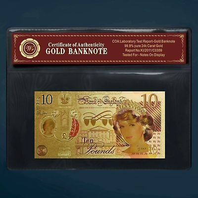 24K Gold Foil Plated Princess Diana £10 20Th Annivensary Gold Money Coa Pouch