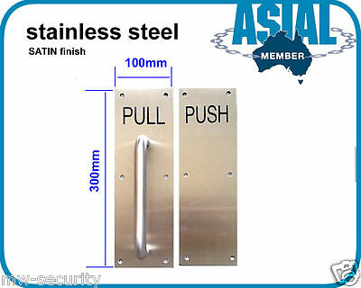 onsale!!  Stainless Steel Door Handle Pull Push Plate Satin Finish Commercial