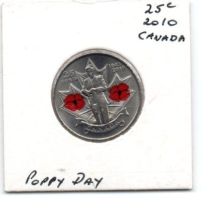 Canada 2010 25c UNC/Coloured coin- Poppy Day 1945/2010