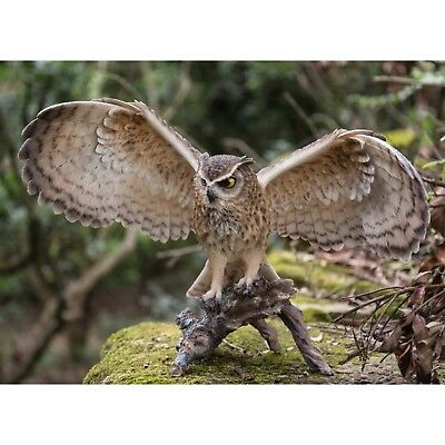 EAGLE OWL ON BRANCH WINGS OUT  - Realistic Life Like Figurine Statue Home/Garden