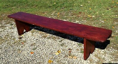Antique Primitive Crock Bench Square Nails Old Red Patina Over 6 Feet Circa 1850