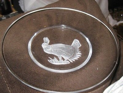Val St Lambert Clear Glass Plate with intaglio frosted pheasant turkey design