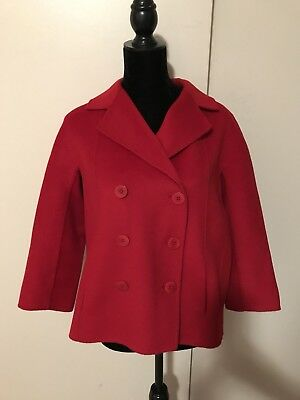 NWOT Talbots Women's Size 8 Red Wool Blend Double Breasted Blazer