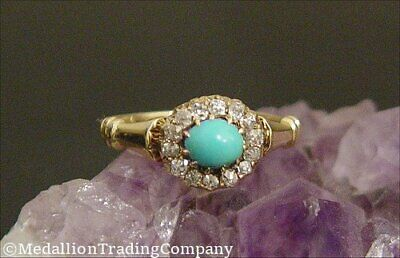 Antique Victorian 14k Old Mine or European Cut Diamond & Turquoise Cabochon Ring
