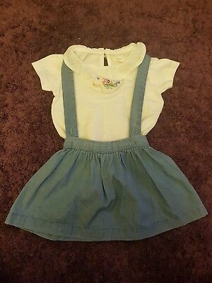 baby girls next outfit. skirt with braces and tshirt 6-9 months