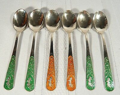 6  Sterling Silver Enamel TEA COFFEE SPOONS Thailand Siam Goddess Lightening 63g
