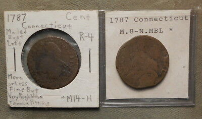 2 Connecticut Coppers 1787