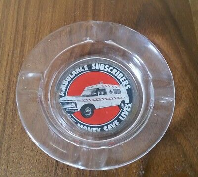 Vintage Glass Ambulance Subscribers Save Money Save Lives Ashtray
