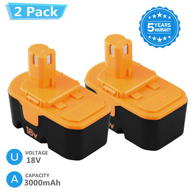 2-Replace for Ryobi 18v Battery 3000mAh Ni-Mh One Plus P100 P101 ABP1801 1322401