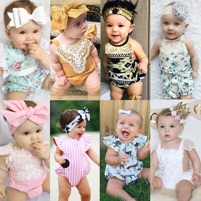 Toddler Newborn Baby Clothes Girls Lace Floral Romper Jumpsuit Outfits Sunsuit