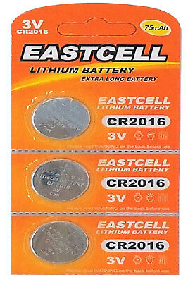 3 x CR2016 3V Lithium Knopfzelle 75 mAh ( 1 Blistercard a 3 Batterien ) EASTCELL