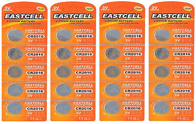 20 x CR2016 3V Lithium Knopfzelle 75 mAh ( 4 Blistercard a 5 Batterien )EASTCELL