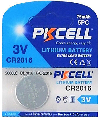 1 x CR2016 3V Lithium Knopfzelle 75 mAh ( 1 Blistercard a 1 Batterie ) PKCELL