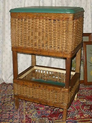 Vintage OLD Cane WORK / SEWING BOX STAND Seagrass