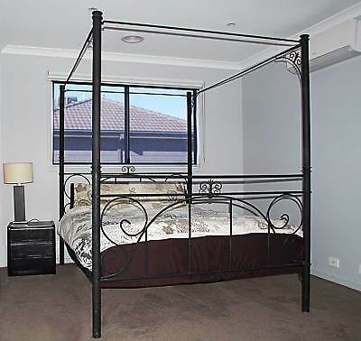 Four Poster Queen Size Full Tester Cast Iron Bed with Fabric Canopy