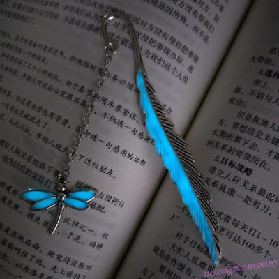 Glow In The Dark Leaf Book Mark Luminous Dragonfly Bookmark Label School Office