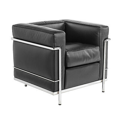 cassina 1x sessel lc1 leder schwarz design le corbusier. Black Bedroom Furniture Sets. Home Design Ideas
