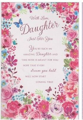 "/""JUST FOR YOU DAUGHTER/"" Greeting Card Birthday by Pacific Graphics!"