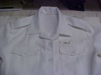 USN Navy Sea Cadet Officer Midshipman INST Male Dress White SS Shirt 38 loc#w90