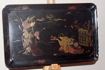 Antique Japanese Large Lacquer Tray Meiji Period Hand Painted With Rised Gold