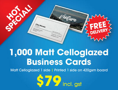 Business Cards-1,000 x Matt Celloglazed Business Cards -420gsm