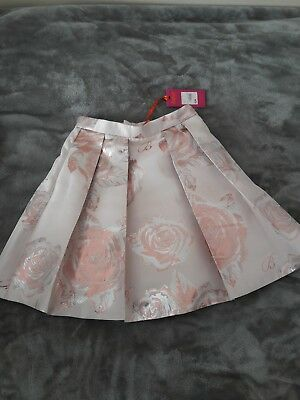 Ted baker girls skirt pink with flower pattern age 9 years